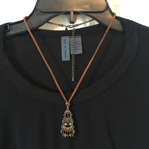 Boho suede w small chandelier style pendant